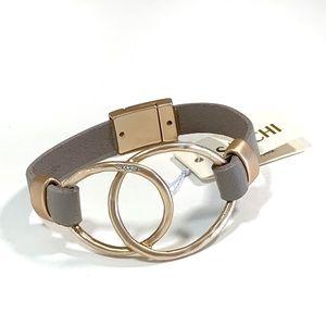 Saachi Leather Gold Tone Overlap Circle Bracelet